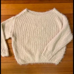 Soft fuzzy cable knit